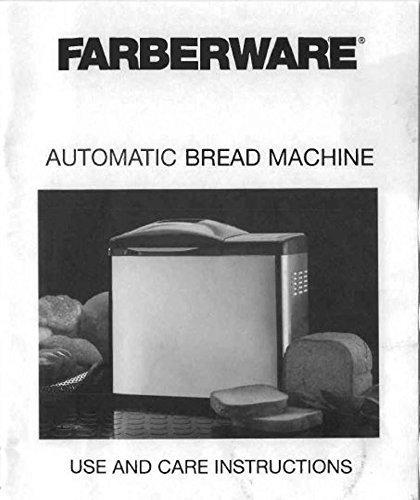 Farberware Bread Machine Manual (FTR700DL) Reprint [Plastic Comb]