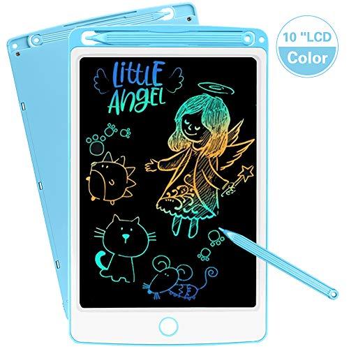 SCRIMEMO LCD Schreibtafel 10 Zoll Bunte hellere Schrift mit Anti-Clearance Funktion und Dicke Linien Stift papierlos für Schreiben Malen Notizen Super als Geschenke (Blau)