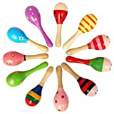10 pezzi in legno maraca sonagli shaker percussioni giocattolo musicale per bambini, maracas da 10, 36 mesi in su