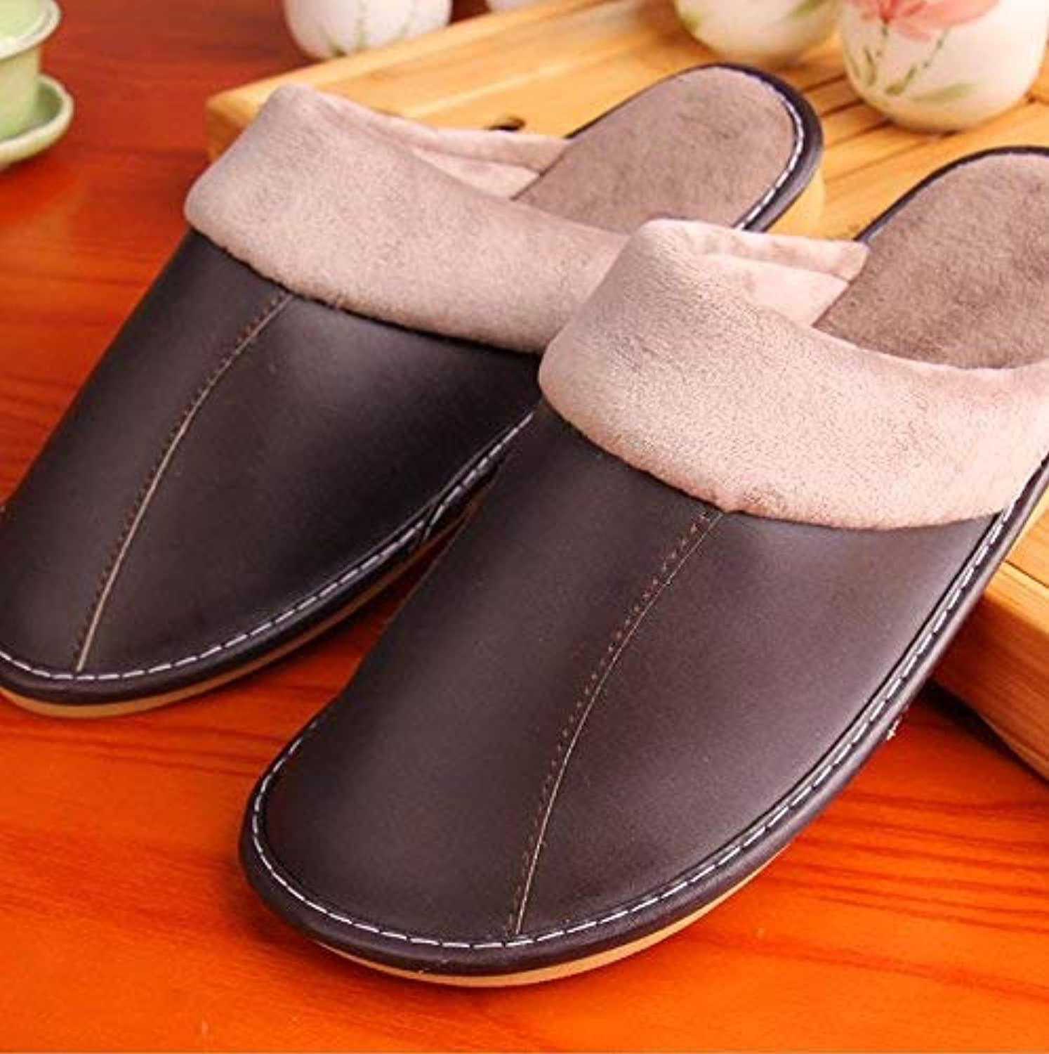 GouuoHi Men Slipper Men's Casual Cotton Slipper Indoor Slip in Autumn and Winter Warm Faux Leather Slippers Balck Brown for Men