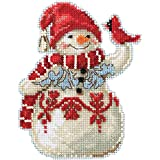 Snowman with Cardinal Counted Cross Stitch Ornament Kit Mill Hill 2019 Jim Shore JS201914
