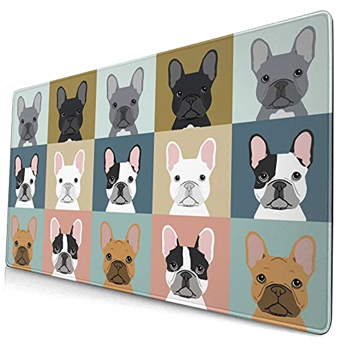 Large Gaming Mouse Pad French Bulldogs Dog Keyboard Pad XL Extended Mousepad with Stitched Edges Full Desk Writing Mat for Office Home 15.8 X 29.5 inch