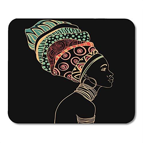 AEMAPE Alfombrilla para ratón Alfombrillas para ratón Alfombrilla para ratón África Retrato de una Hermosa Mujer Africana Pendiente Vista de Perfil Joyería Alfombrilla de ratón étnica