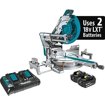 "Makita XSL08PT 18V x2 LXT Lithium-Ion (36V) Brushless Cordless 12"" Dual-Bevel Sliding Compound Miter Saw Kit, AWS Capable & Laser (5.0Ah)"