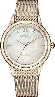 CITIZEN Womens Solar Powered Watch, Analog Display and Stainless Steel Strap - EM0816-88Y