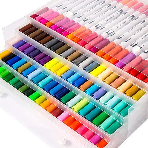 YaToy - Set di pennarelli con due punte di diverso spessore, perfetti per bullet journal, lettere scritte a mano e altri lavori artistici, colori assortiti