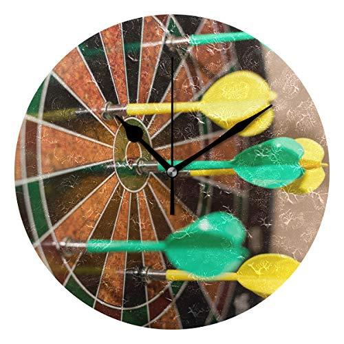 Montoj Wanduhr, Dartpfeile auf Dartscheibe, batteriebetrieben, groß, Grün und Gelb