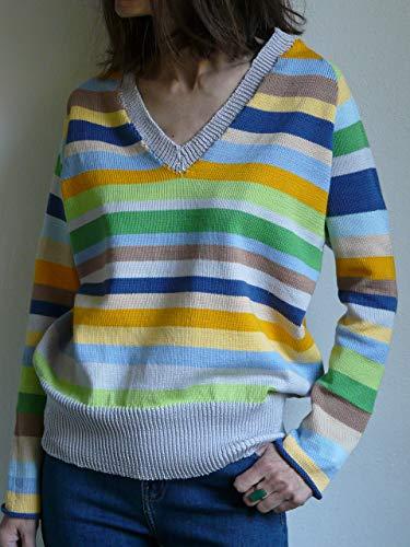 gestreifter Pullover, reine Baumwolle