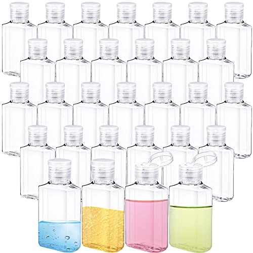 30 PCS 2oz Refillable Flip-Top Bottles,Clear Plastic Squeeze Travel Containers,Plastic Hand Sanitizer Bottles for Shampoo,Liquid,Lotion and Essential Oil