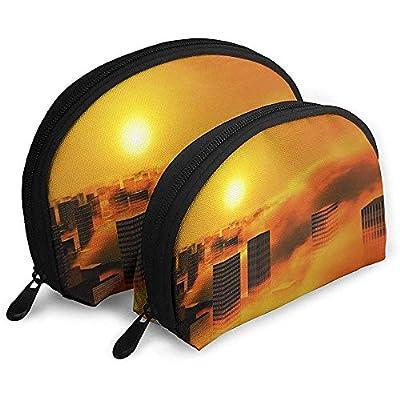 City Sun Clouds Smoke Sky Bolsas portátiles Bolsa de Maquillaje Bolsa de Aseo, Bolsas de Viaje portátiles multifunción Pequeña Bolsa de Embrague de Maquillaje con Cremallera