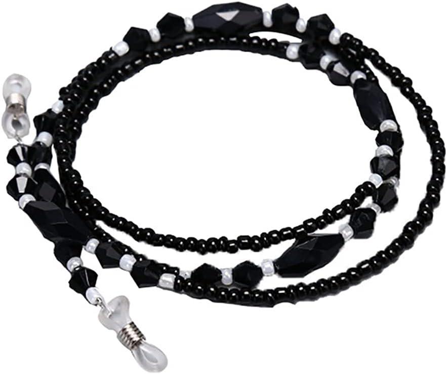 ZYKBB Eyeglasses Chains Rope Black Acrylic Beads Chains Anti-slip Eye-wear Cord Holder Neck Strap Reading Glasses Rope 70cm
