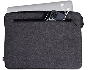 Amazon Brand - Eono MinimalismLaptop Sleeve Case with 2 Compartments Padded Notebook Tablet Carrying Bag for 13-13.3 inch Laptop (Black-13.3inch)