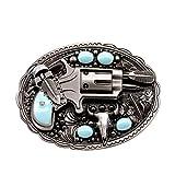 YOQUCOL Revolver Pistol Imitation Turquoise Bull Head Belt Buckle For Men
