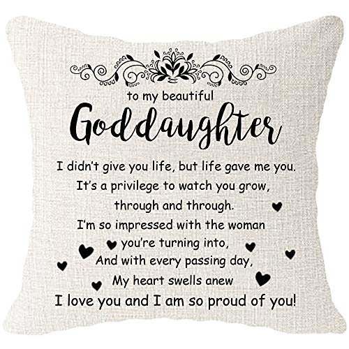 Hysunland Goddaughter Gift from Godmother Pillow Covers 18x18 Inch Beige Burlap Farmhouse Decorative Square Pillow Cases Pillowcases with Words for Home Couch Bed Living Room