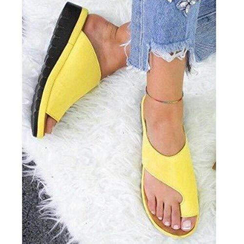 MMWW Suela Suave Zapatos De Piscina Casa,Zapatillas de Plataforma Antideslizantes de Gran tamaño, Sandalias sin Cordones para Mujer de Color sólido-Amarillo_41,Zapatillas Baño Secado Rápido Piscina