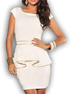 Red Dot Boutique 1000 - Plus Size Cap Sleeves Gold Peplum Bodycon Cocktail  Dress Ivory  c3ff14304