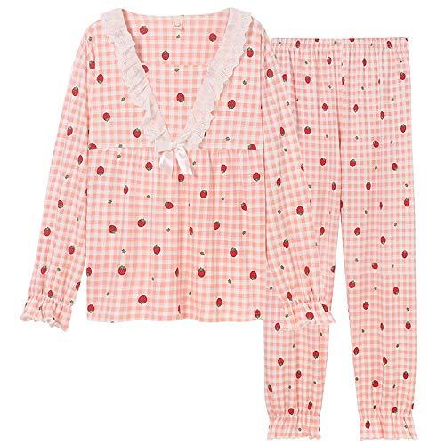 DFDLNL Conjunto de Pijamas de otoo, Pijama Rosa para Mujer, Ropa de Dormir de algodn, Pijama de saln y Pijama para Dormir, Talla Grande XXXL para Mujer