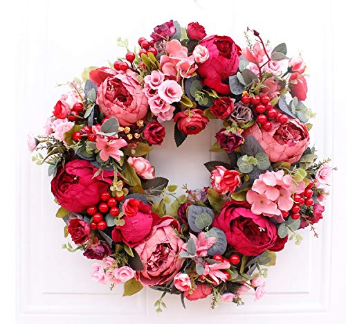 QT HOUSEWARE Fall Wreaths for Front Door - Christmas Wreath Artifical Flowers Wreath Fall Red Floral Door Decoration Front Door Indoor Wreaths Handmade Rattan Wreath