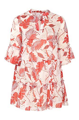 PAPRIKA Damen große Größen Tunika-Kleid mit Blattmuster-Print und glänzenden Streifen Maokragen 3/4 Ärmel