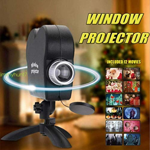 SYYSYY Halloween Holographic Projection,Christmas Window Projector Light, 12 Movie Projection Lamp Show Outdoor/Indoor Decoration