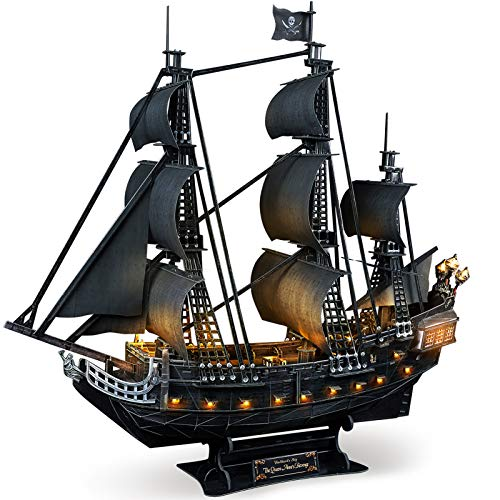 CubicFun 3D Puzzle for Adults LED Pirate Ship Puzzles Sailboat Vessel Model Kits, Large Black Queen...