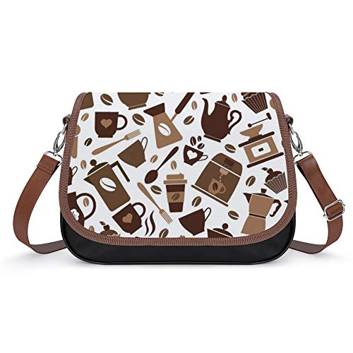 TOBEEY Mädchen Crossbody Portemonnaie Kunstleder Kaffee Symbol Muster Casual Portemonnaie und Handtasche Klettverschluss mit abnehmbarem Riemen Outdoor-Reisen