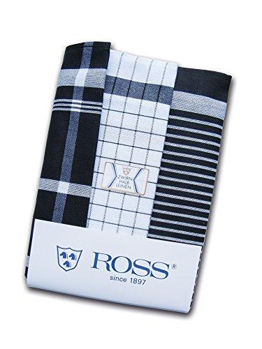 Ross - EXCUSIVE - 3er Pack Halbleinen Geschirrtücher schwarz 50x70 cm