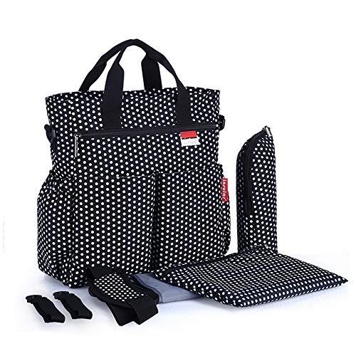 Beste baby verwisselbare tas van Chikencall® - luiertas met verwisselbare pad, geïsoleerde zakken, natte zak, waterdicht materiaal met 12 zakken kinderwagenriemen, schouderriem reisluiertas Large Black-white Spot