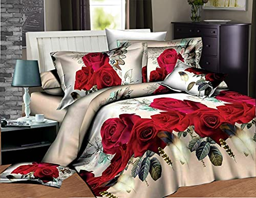 Super King Size Duvet Cover Sets - Luxury Super Soft Non Iron 4 Piece Include 3D Printed Duvet Covers Fitted Bed Sheet, 2 Pillow Case - Beige Red 291