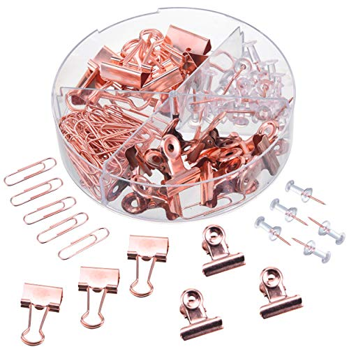 Push Pins Binder Clips Paperclips Bulldog Clips Sets with Box for Office School Accessories Home Desk Supplies, 100 Pcs Assorted Sizes Clips Kits for Pictures Documents Notes(Rose Gold)