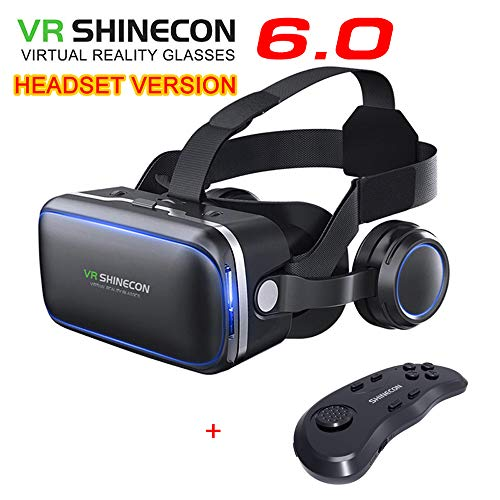 VR SHINECON Original 6.0 VR Headset Version Virtual Reality Glasses Stereo Headphones 3D Glasses Headset Helmets Support 4.7-6.53 inch Large Screen Smartphone (with Controller SC-B01)