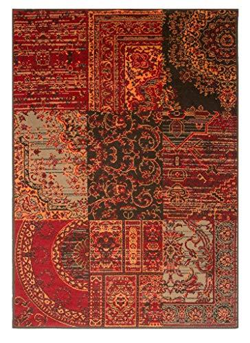 The Rug House Tapis Rouge Marron Brûlé Orange Gris Patchwork Traditionnel Oriental Salle de Séjour Salon