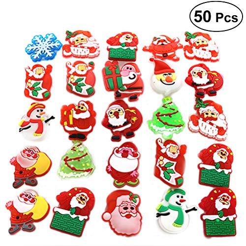 Weihnachtliche Brosche mit blinkenden LEDs, ideal für Kinder, Partys, als Geschenk, 50 Stück (zufällige Auswahl)