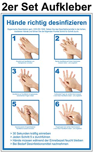 2 Stück 20 x 30 cm Aufkleber Hände richtig desinfizieren - CEN EN 1500 - Folie selbstklebend - Anleitung Händedesinfektion - Hygiene Handdesinfektion