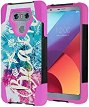 Capsule Case Compatible with LG G6 [Hybrid Fusion Dual Layer Shockproof Combat Kickstand Case Black Pink] for LGG6 LG G6 2017 - (Beach Palm)