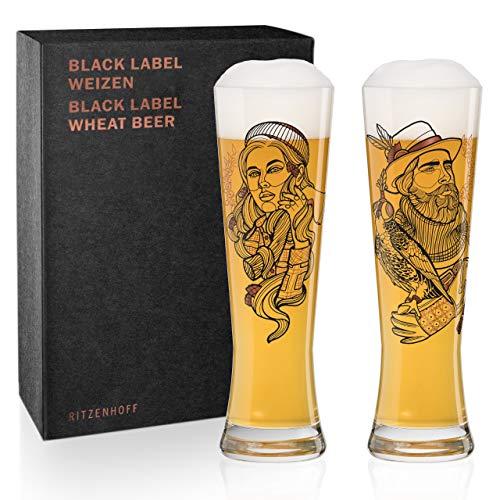Ritzenhoff Black Label Weizenbierglas-Set von Vladimir Bott (Falconer & Lumberjack), aus Kristallglas, 669 ml, mit 3 Klebetattoos
