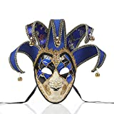 RTGE Máscara de Payaso de máscara de bufón Veneciano de Cara Completa de Halloween ara Adultos Mascarada Pintada a Mano Disfraz de Fiesta de Carnaval máscara de Ojos para Hombre & Mujer,Azul