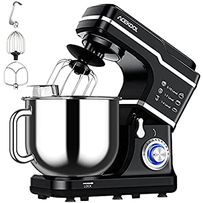 Stand Mixer, 10-Speed 7.5QT Electric Mixer Tilt-Head Kitchen Food Mixer for Baking&Cake, with Stainless Steel Bowl, Whisk, Dough Hook, Beater, Splash Guard (660W)BLACK