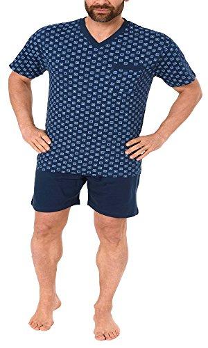 NORMANN WÄSCHEFABRIK Herren Shorty Pyjama Kurzarm in klassischen Farben - auch in Übergrössen - 181 105 90 007, Farbe:Marine, Größe:52