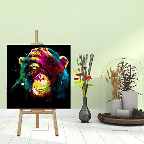DIY Leinwand Gemälde Für DIY Melancholie Orang-Utan Tier Wohnzimmer Dekorative Malerei Handbemalt 40 * 40Cm Rahmenlos