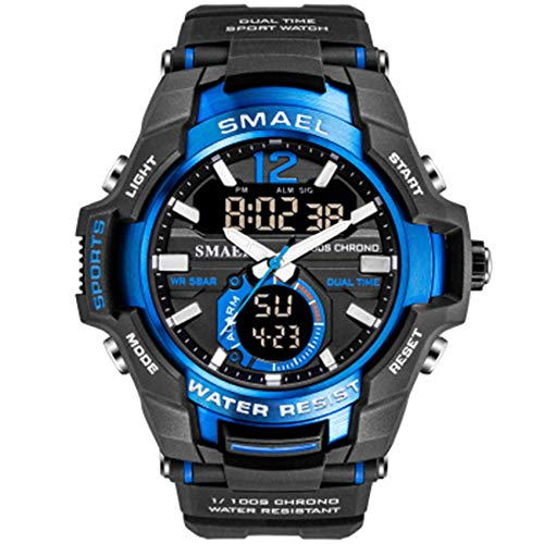 AYDQC Análogo de los Hombres de Deportes LED Digital Relojes Deporte al Aire Libre Relojes de Moda Reloj de Cuarzo Resistente al Agua Cronómetro analógico fengong (Color : B)