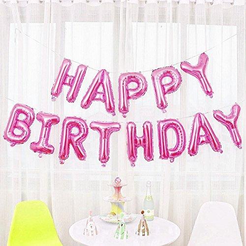 JZK rosa Buchstaben Happy Birthday Folie Ballons, Alles Gute zum Geburtstag Luftballons Banner Bunting Dekoration für Kinder Party Geburtstag Party Babyparty