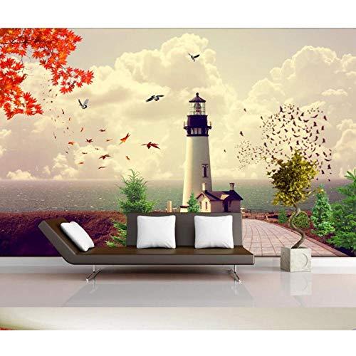 Mediterranes Meer Leuchtturm Tapete 3D Wall Mura, Fototapeten für Kinder Kinderzimmer Kontaktpapier 280 (B) x 180 cm (H)