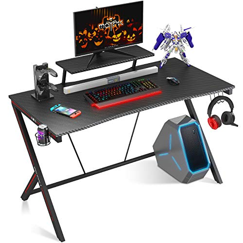 Motpk, Gaming Desk 40' with Monitor Shelf Gaming Table Home Computer Desk with Cup Holder and Headphone Hook Gamer Workstation Game Table (40' W x 29'' D), Black