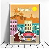 SDGW Lienzo De Viaje A La Habana, Impresiones De Lienzo De Viaje, Póster, Imágenes Artísticas De Pared para El Hotel, Bar, Cafetería, Sala De Estar, Decoración del Hogar-50X75Cm Sin Marco