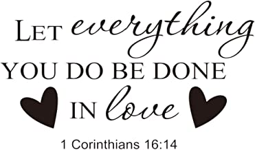 Garneck Wall Quotes Sayings DIY Removable Vinyl Non-Toxic Bible Verse Christian Peel and Stick Let Everything You Do Be Done in Love Wall Stickers