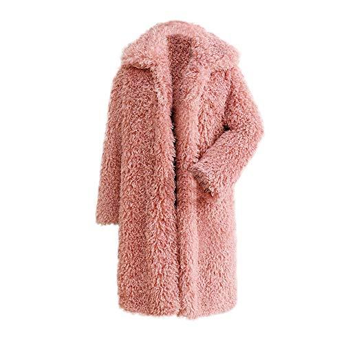 IZHH Damen Mantel Frauen Winter Warme Dicke Mantel Feste Mantel Mantel Jacke Strickjacke Mantel Damen Winter Einfarbig Mantel(Rosa,XXX-Large