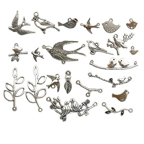 Bird Branch Connector Charms -50pcs Mixed Antique Silver Charms Pendants for Crafting, Jewelry Findings Making Accessory For DIY Necklace Bracelet (Bird Branch Collection) (antique silver HK13)
