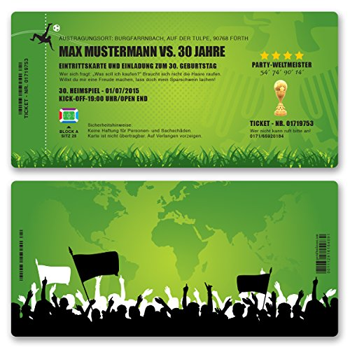 (40 x) Einladungskarten Geburtstag Fussball Kindergeburtstag Ticket Einladungen