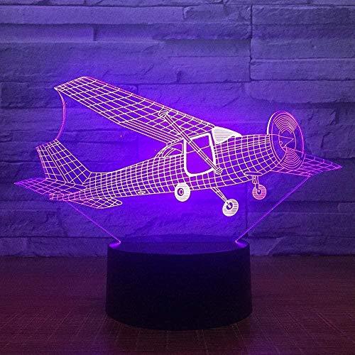 3D Night Light Glider Plane 3D LED Lamp 7 Colors Change Touch Night Light Atmosphere Lamp Bedroom Light for Birthday Gift Home Decor ll